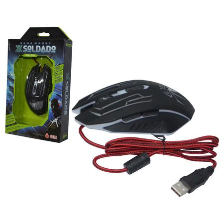 Mouse Gamer GM-210 Soldado Preto 3000 dpi 6D 7 cores Led