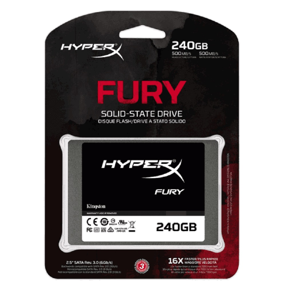 SSD 240GB Kingston HyperX Fury SATA III 6.0Gb/s - SHFS37A/240G