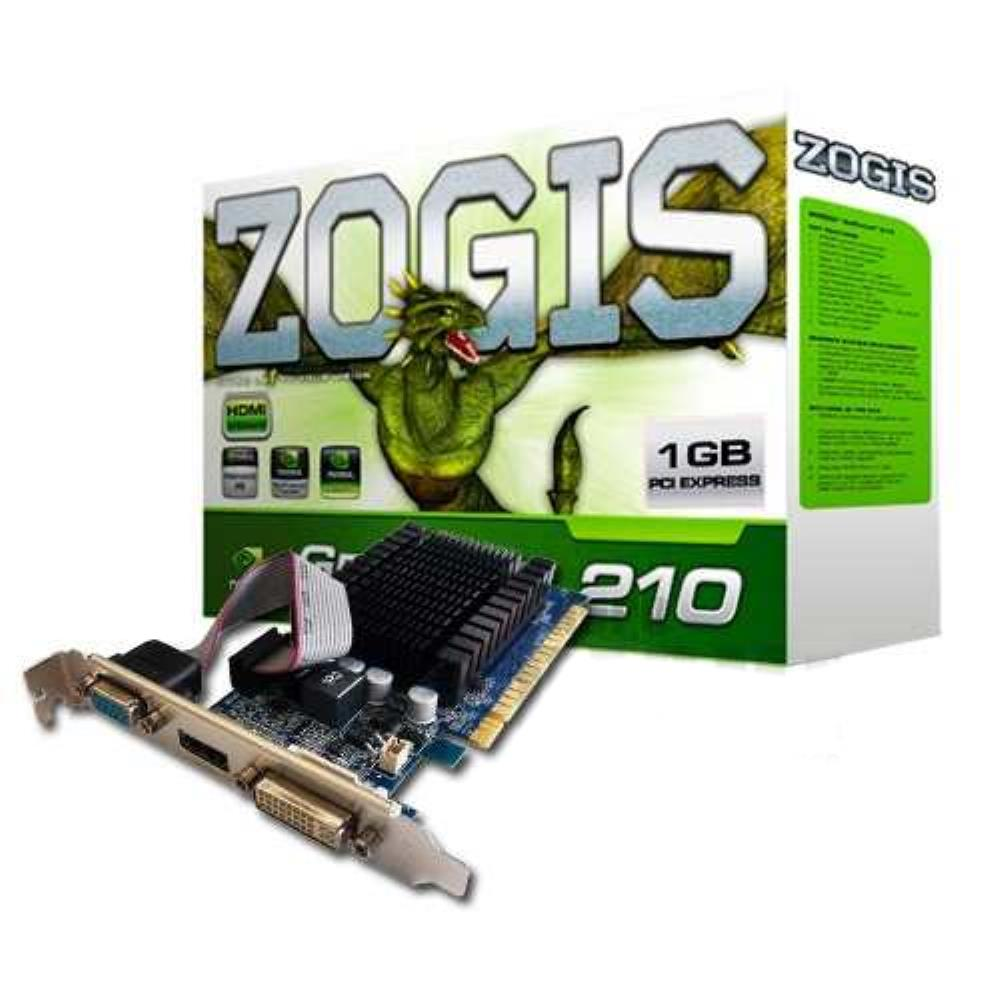 VGA GeForce 1GB GT210 Zogis 64Bits ZO210-1GD2LP