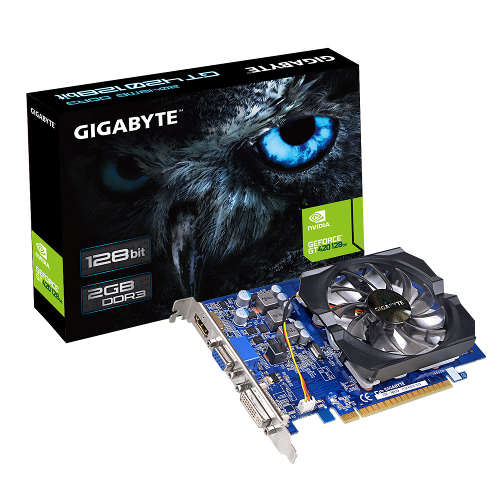 VGA GeForce 2GB GT420 Gigabyte DDR3 128 bits - GV-N420-2GI Rev3.0