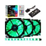 Kit Cooler Fan Dex RGB com Controle DX-123R ccm 1 Fita de Led  Kit com 3 Fans 21 Leds