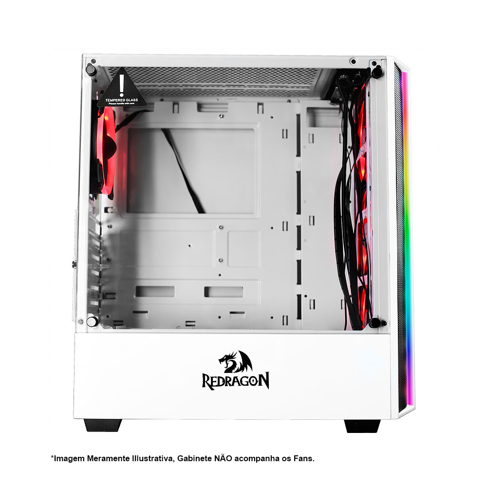 Gabinete Gamer Redragon Grapple Branco Vidro GC-607-WH